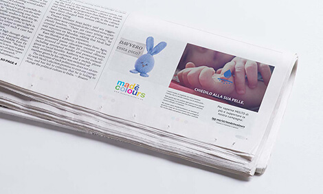 madeincolours ad on a newspaper
