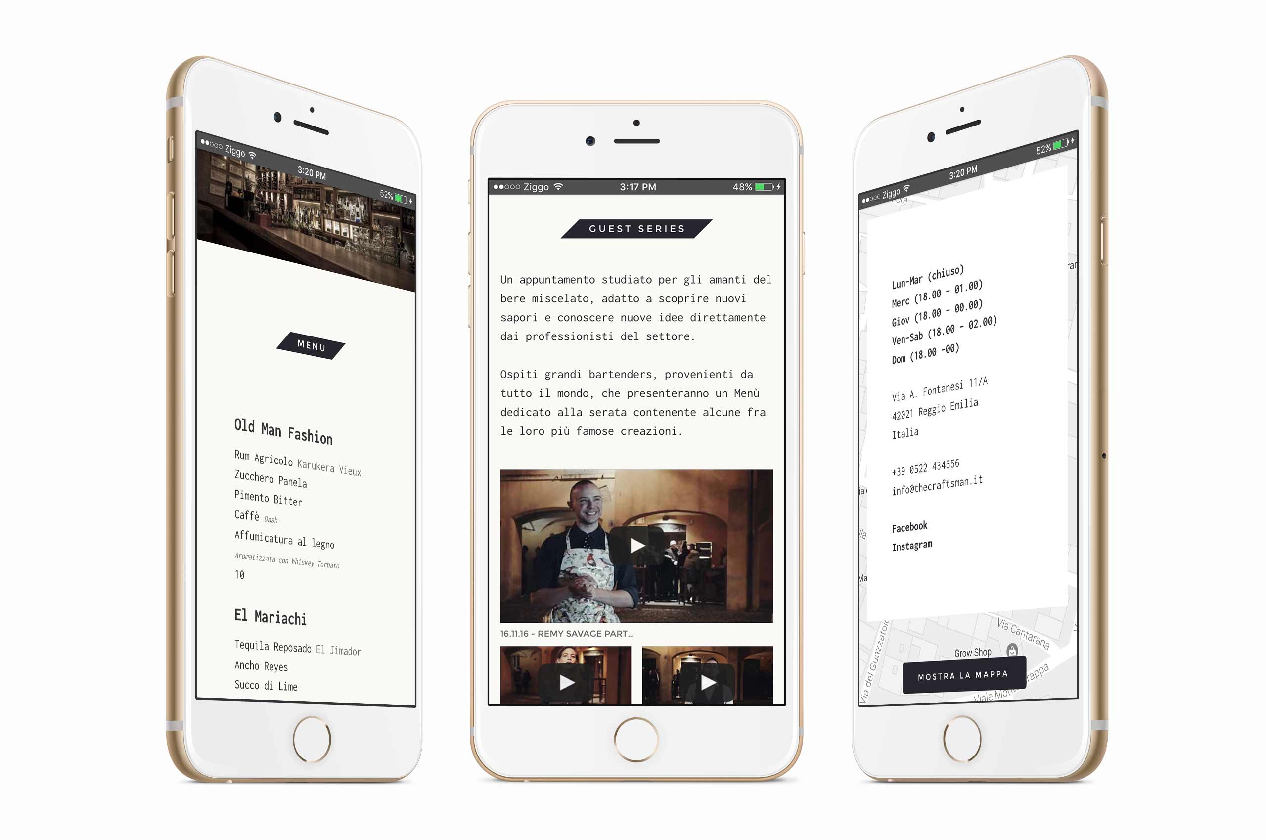 Mockup of The Craftsman website on 3 iPhone 6